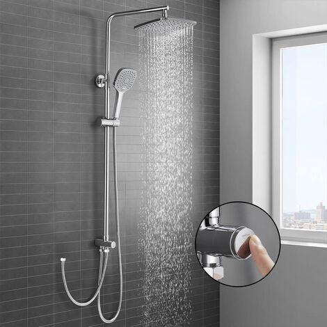 Sistema de ducha sin grifo, set de ducha WOOHSE, ducha de lluvia, grifo de ducha, ducha de mano con 3 chorros, barra de ducha ajustable, conjunto de columna de ducha para baño, garantía de por vida