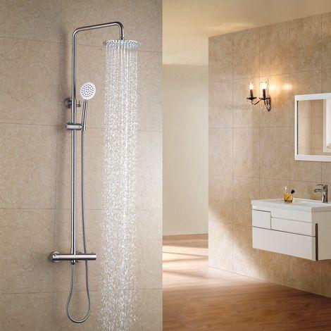 Sistema de ducha termostática en acero inoxidable niquelado cepillado