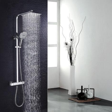 Sistema de ducha WOOHSE con ducha de lluvia termostática set de ducha columna de ducha de acero inoxidable con ducha fija, 3 modos de ducha manual y barra de ducha ajustable set de ducha mezclador de ducha columna de ducha para baño
