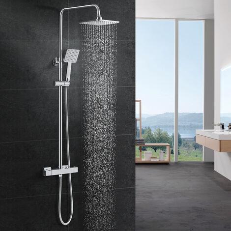 Sistema de ducha WOOHSE con mezclador de ducha termostático ducha de lluvia y ducha de mano columna de ducha mezclador termostático set de ducha set de ducha set de ducha, set de ducha con barra de ducha de acero inoxidable para baño