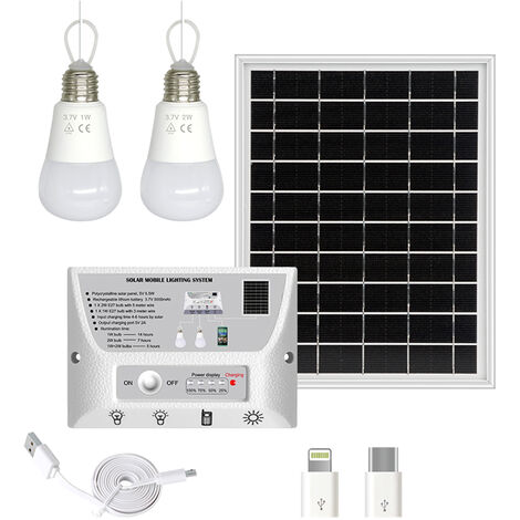 Sistema de iluminacion solar portatil a prueba de agua 5.5W del panel solar 1W y regulador 5000mAh bombillas LED 2W con el telefono de carga del puerto Compatible con bulbo Android / iOS / Tipo-C al aire libre Lamparas, blanca, luz blanca