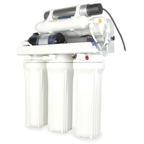 Sistema de osmosis inversa domestica Yatek -C de 5 etapas con tanque de 12 litro, bomba de presión y lampara UV