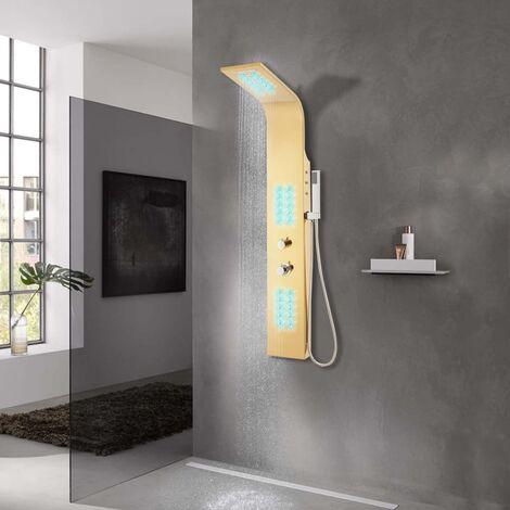Sistema de panel de ducha acero inoxidable 201 dorado curvado