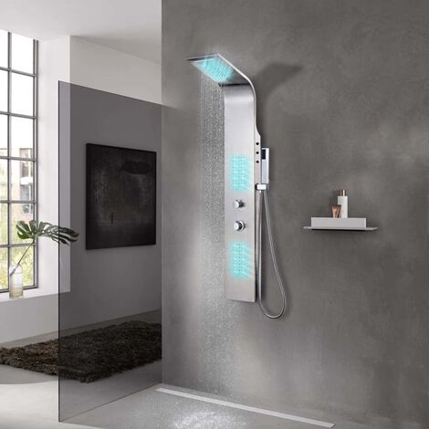 Sistema de panel de ducha acero inoxidable curvo