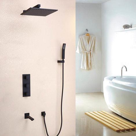 Sistema de pared de ducha de lluvia termostática negra con kit de ducha de mano y latón macizo Llenadora de baño Válvula de ducha estándar soporte de pared 300 mm