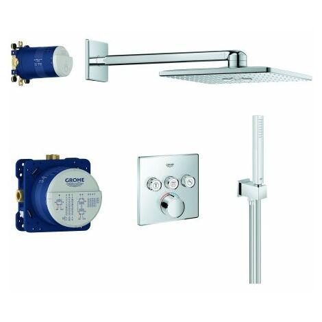 Sistema doccia ad incasso Grohe Grohe SmartControl SmartControl, con soffione doccia Rainshower SmartActive 310 Cube, 3 utenze, cromato - 34712000