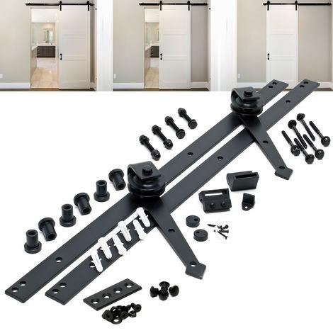 Sistema herrajes para puerta corredera 144cm 8ft max. 150kg Riel para puerta deslizante Decoración