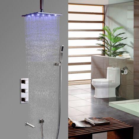 Sistema moderno de ducha de lluvia termostática en techo cepillado de níquel cepillado con soporte de pared de válvula de ducha estándar Con LED de 250 mm