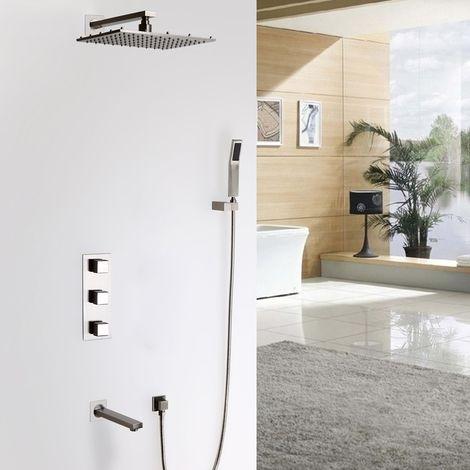 Sistema termostático de ducha de lluvia montado en la pared LED con ducha de mano y caño de baño Válvula de ducha estándar Montaje en pared con LED 250 mm