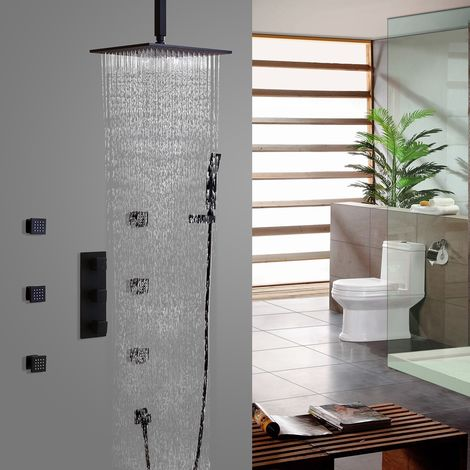Sistema termostático de ducha de techo en negro con válvula de ducha estándar con soporte de pared 300 mm