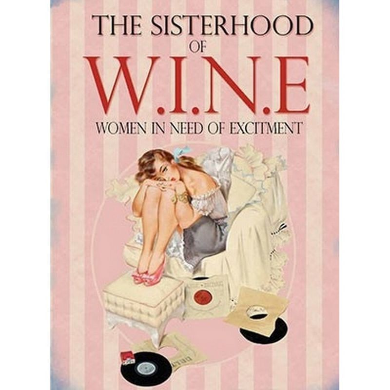 Image of Sisterhood Of Wine Metal Wall Sign (One Size) (Pink)