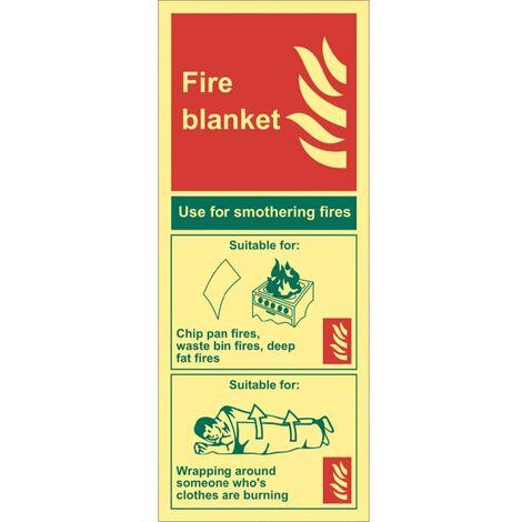 Sitesafe Fire Blanket Photoluminescent Rigid PVC Sign - 82 x 202mm