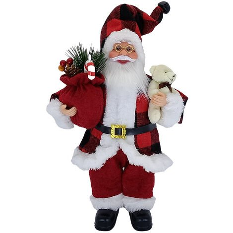 """main image of """"Sitting Santa Claus Figure Christmas Standing Santa Figurine Traditional Decoration Santa Claus Collectible Figure for Table Party Ornaments Home Decor (A)"""""""