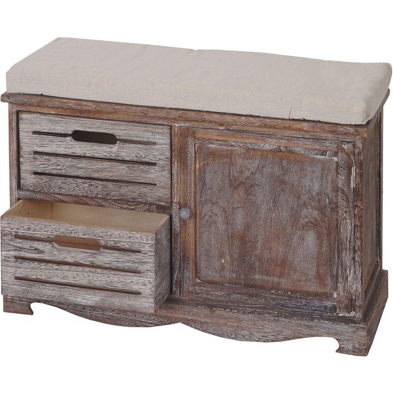 Sitzbank Asti, Bank Kommode, Shabby-Look Vintage 49x71x32cm braun