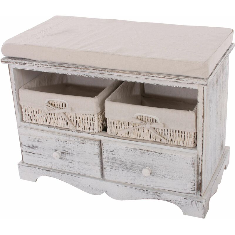 Sitzbank Kommode mit 2 Körben 42x62x33cm, Shabby-Look, Shabby-Chic, Vintage ~ weiß