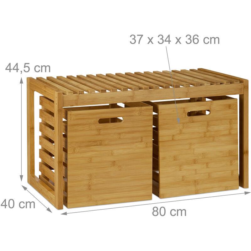 Sitzbank mit Stauraum, Bambus, 2 Aufbewahrungsboxen, Bank für Flur, Bad,  Garderobe, HBT 44,5x80x40 cm, natur