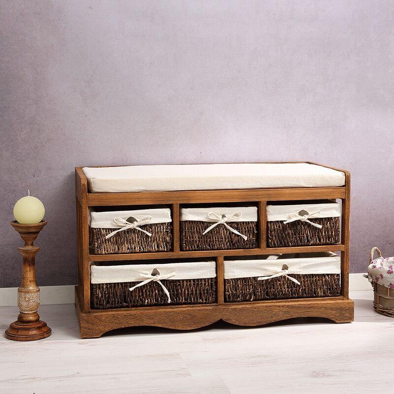 Mucola - Sitzbank Vintage Kommode Flurbank Truhe Shabby Chic braun Sitzkommode Hocker
