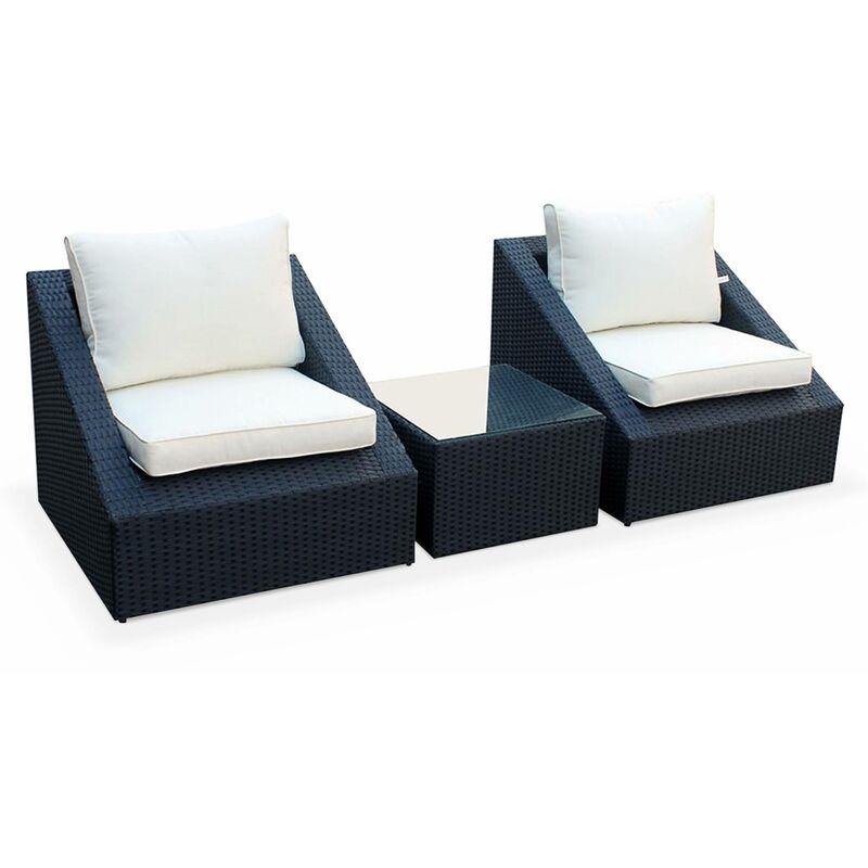 Sitzgarnitur für den Garten 2 Sitze - Triangolo - schwarzes Kunststoffrattan, ecrufarbene Kissen, Stühle + 1 Couchtisch, stapelbar - ALICE'S GARDEN