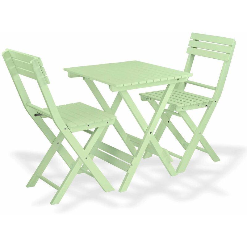 Dema - Bistro Set Sanremo waterblue Balkonmöbel Gartenmöbel 2x Stuhl 1x Tisch klappbar