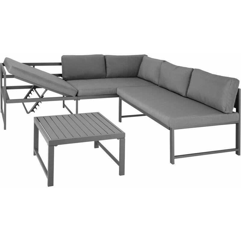 Sitzgruppe Faro mit Tisch mit verstellbarer Rückenlehne, Variante 1 - Gartentisch, Gartenstuhl, Sitzbank - Lamellen - gris - TECTAKE