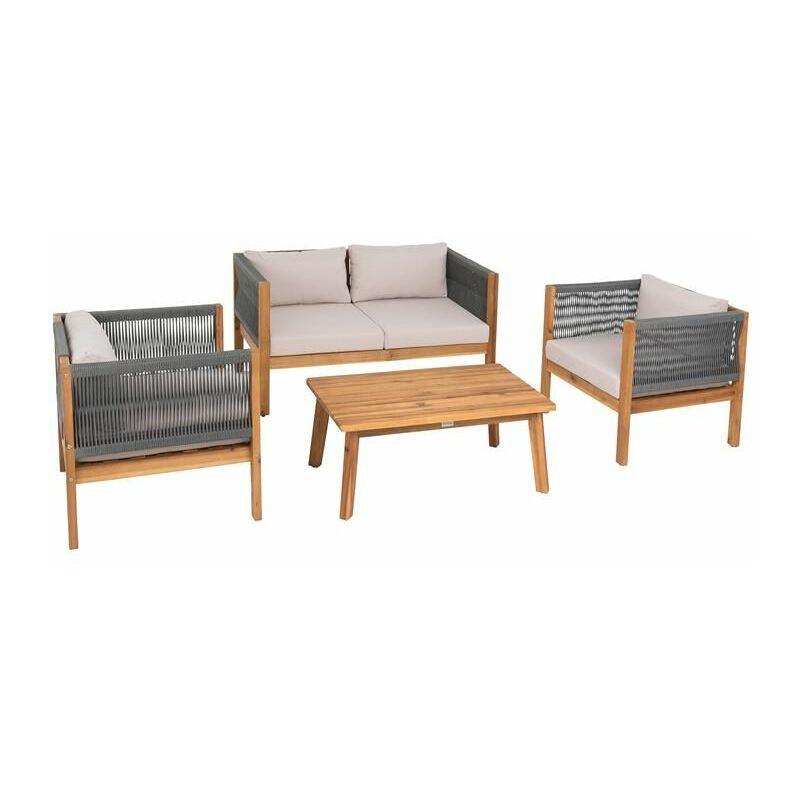 Estexo - Sitzgruppe Gartenmöbel Akazie Lounge Set Sitzgarnitur Holz Massiv Garten Seil