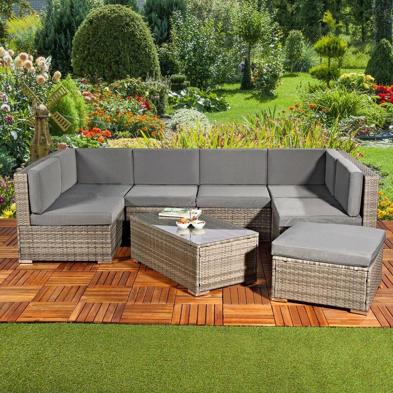 Sitzgruppe Gartenmöbel Lounge Sitzgarnitur Rattan Gartenset Sitzgruppe Terrasse - MUCOLA