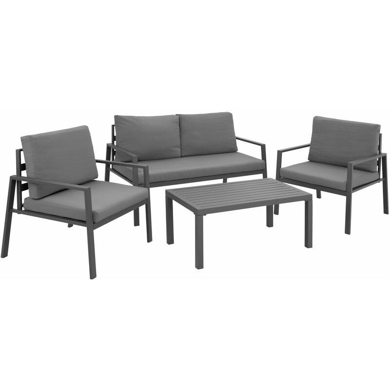 Sitzgruppe Göteborg mit Tisch, Variante 1 - Gartentisch, Gartenstuhl, Sitzbank - grau - gris - TECTAKE