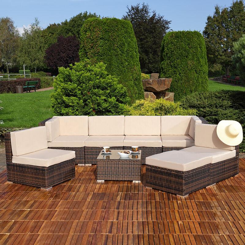 Mucola - Sitzgruppe Sitzgarnitur Lounge Gartenmöbel Gartenset Rattan Sitzgruppe braun XL