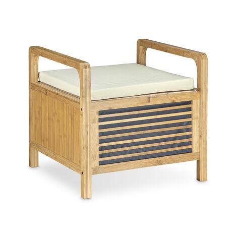 Sitzhocker mit Stauraum, Aufbewahrungsbox mit Sitzkissen, Bambus Hocker M HxBxT: 46 x 50,5 x 50 cm, natur
