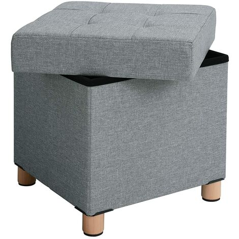 Sitzhocker viereckige Sitztruhe Fußhocker Aufbewahrungsbox mit Holzfüßen Deckel