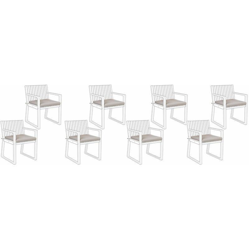 Sitzkissen Set für Stuhl Taupe Polsterbezug 8 Stück Garten Gartenmöbel Gartenstuhl
