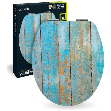SITZPLATZ® WC-Sitz mit Absenkautomatik, Dekor Treibholz, High-Gloss Toilettensitz mit Holzkern, Fast-Fix Schnellbefestigung, Standard O Form universal, Toilettendeckel glänzend, 40193 7