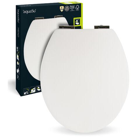 SITZPLATZ® WC-Sitz mit Absenkautomatik, Weiß, Soft-Touch Toilettensitz mit Holzkern, Fast-Fix Befestigung, ovale Standard O Form universal, rostfreie Metallscharniere, samtener Soft Touch, 40671 0