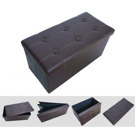 Sitztruhe, Kunstleder Sitzhocker, 76 x 38 x 38 cm, Braun, Abgen - HP5012730