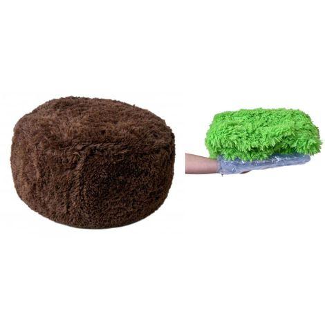 SITZY - Pouf gonflable intérieur/extérieur h 34cm ⌀ 65cm confortable pratique - Assise gonflable + housse amovible en fourrure - Marron