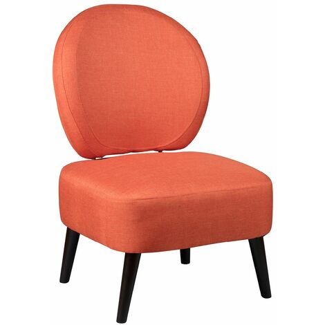 Skalan - Fauteuil Crapaud Tissu Coloris Corail - Orange
