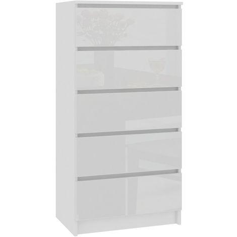 SKANDI | Commode contemporaine chambre + salon + bureau 121x60x40 cm | 5 tiroirs | Design moderne | Chiffonier Semainier | Blanc laqué