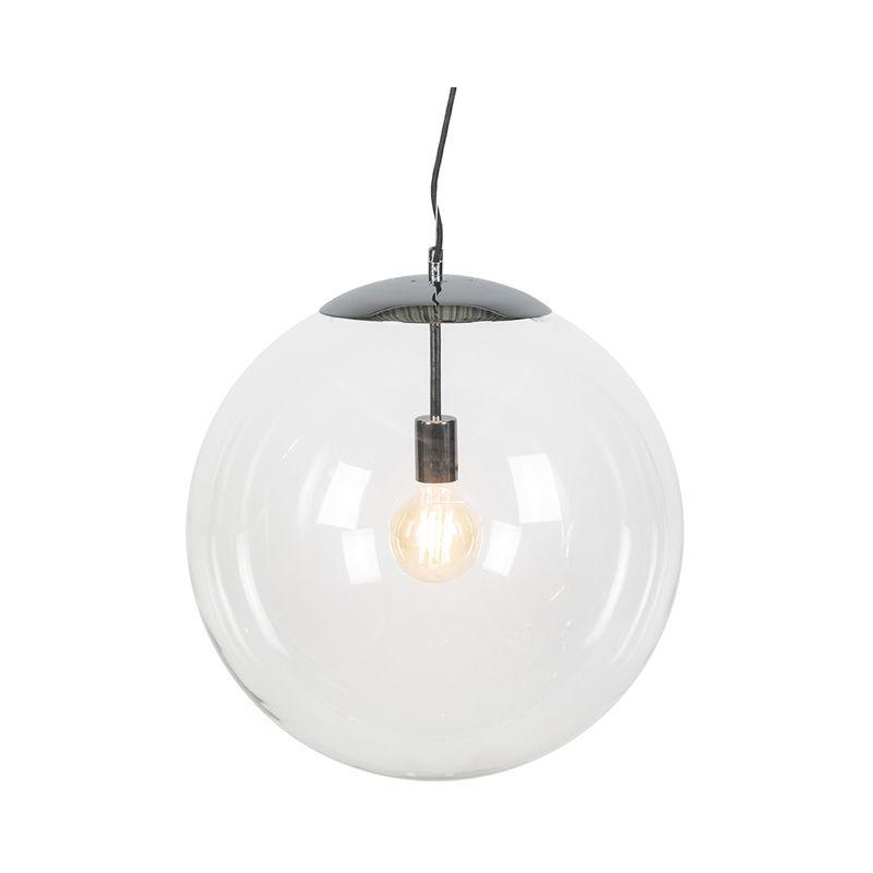 Qazqa - Skandinavische Hängelampe Chrom mit Klarglas - Ball 50
