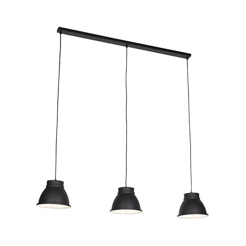 Qazqa - Skandinavische Hängelampe schwarz mit weißen 3-Lichtern - Ron