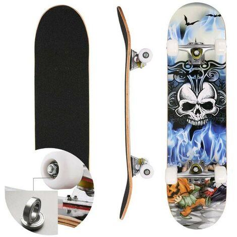 Skateboard Deck Complet Planche À Roulettes Capacité MAX 100KG - Crâne Motif