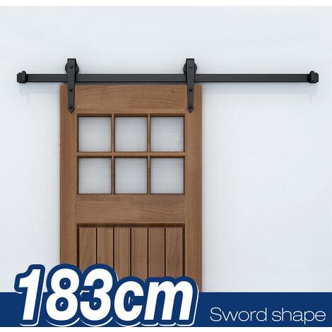 SKECTEN 6FT-183cm Quincaillerie Kit de Porte Coulissante Rail Système de Porte Coulissante Intérieur Ensemble Industriel Porte Suspendue en bois