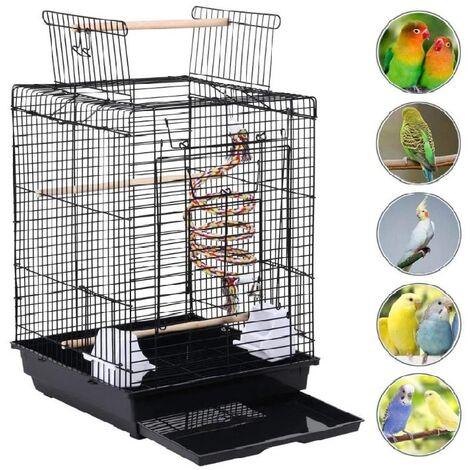 Skecten Cage à Oiseaux 40 x 40 x 58 cm Cage pour Perruche Canari Calopsitte Corde de Jouet Ouverture Supérieure