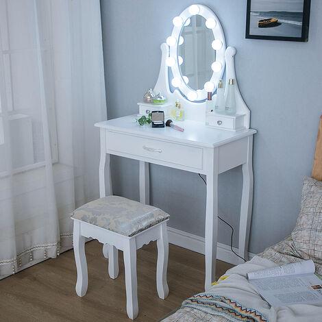 Skecten Coiffeuse avec Lumière LED et Tabouret, Miroir Ovale Table de Maquillage à 3 Tiroirs Romantique Blanc