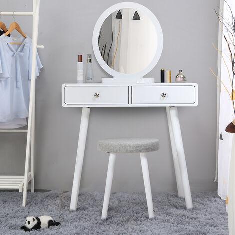 Skecten Coiffeuse Design 2 Tiroir Miroir Rond Tabouret - 80 x 40 x 125 cm (L x l x h) - Blanc - Blanc