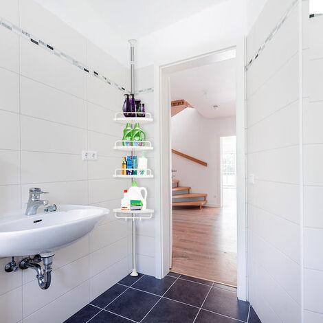 Skecten Etagère télescopique de douche hauteur réglable maximale 304cm avec crochets serviettes accessoires bain savon