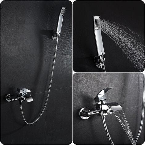 Skecten® Mitigeur Bain Robinet de Baignoire Cascade avec Pommeau de douche Economie d'eau Laiton Chrome pour Salle de bain