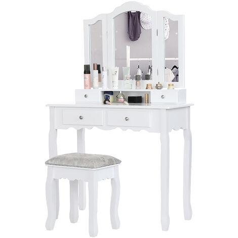 Skecten Superbe Grande Coiffeuse Table de Maquillage Style Champêtre avec 3 Miroirs, 4 Tiroirs et 1 Tabouret