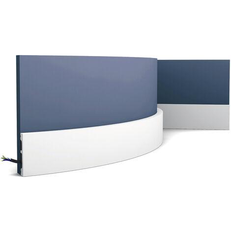 Skirting Orac Decor SX157F AXXENT SQUARE flexible baseboard moulding decorative moulding contemporary design white 2 m