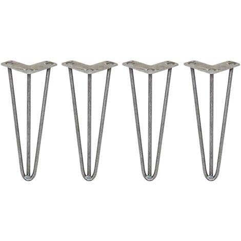 SKISKI LEGS - 4 Patas de Horquilla para Mesa SkiSki Legs 30,5cm Acero Natural 3 Dientes 10mm