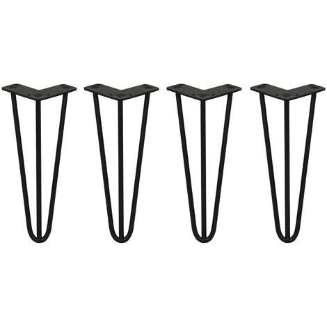 SKISKI LEGS - 4 Patas de Horquilla para Mesa SkiSki Legs 30,5cm Acero Negro 3 Dientes 10mm